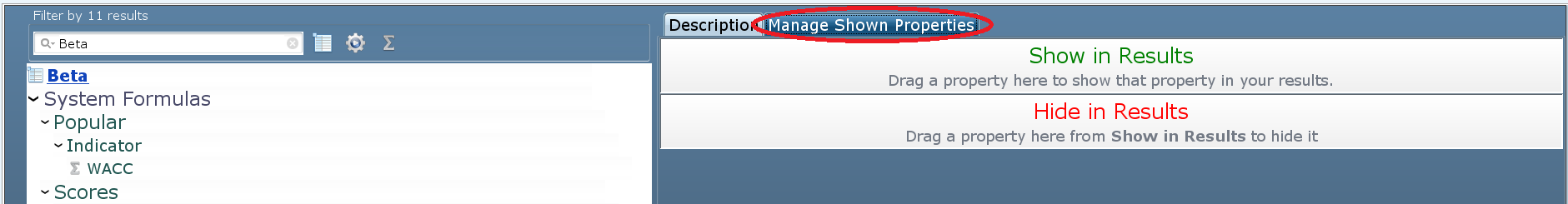 Manage shown properties